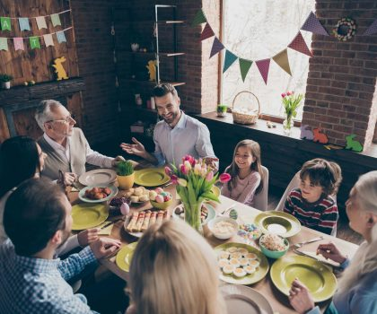 Family sitting together for easter dinner