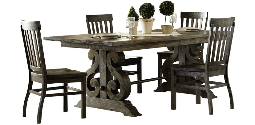 Rustic Farmhouse Inspired Dining Set in Dark Brown Finish