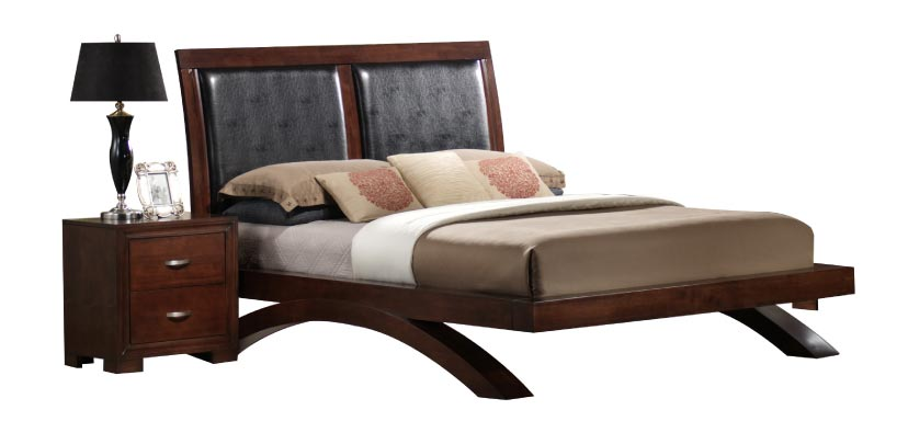Contemporary Bed with Arched Legs for Support