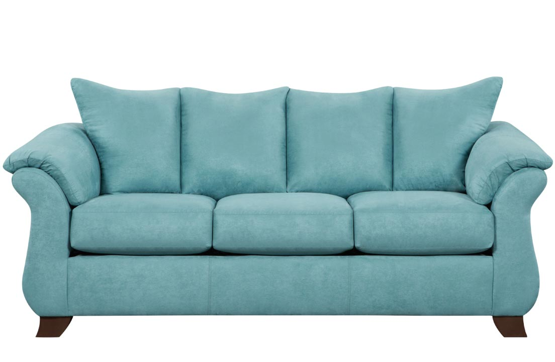 Teal sofa with flared arms