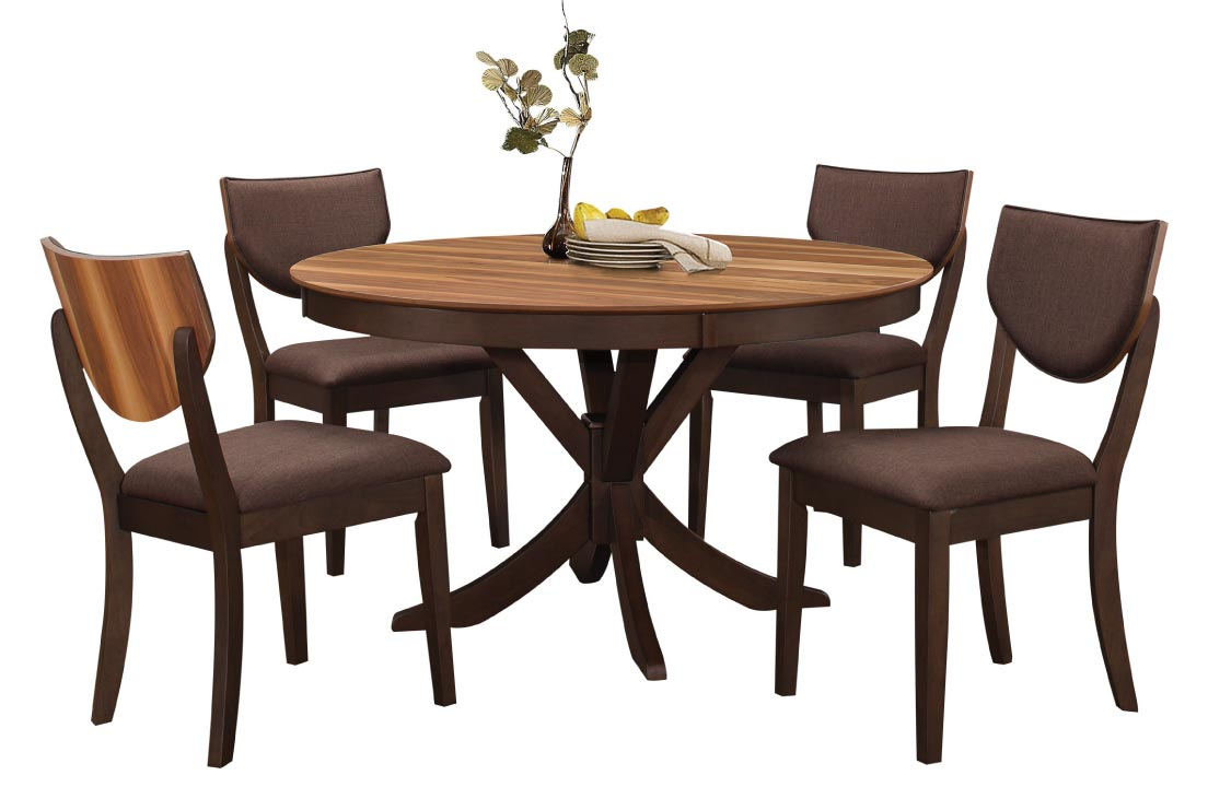 Warm-toned contemporary dining set with round table and contrasting wood veneer accents
