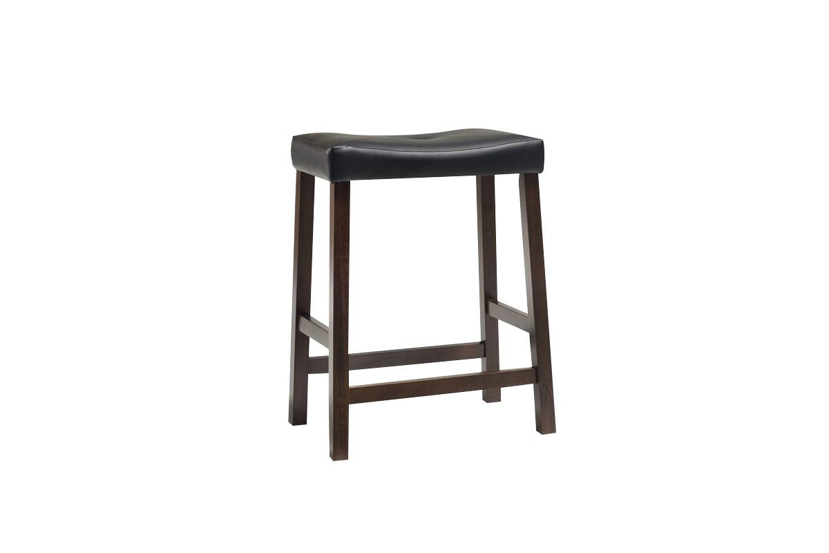 Upholstered Saddle Seat Bar Stool In Vintage Mahogany W 24 Inch Height Set Of 2