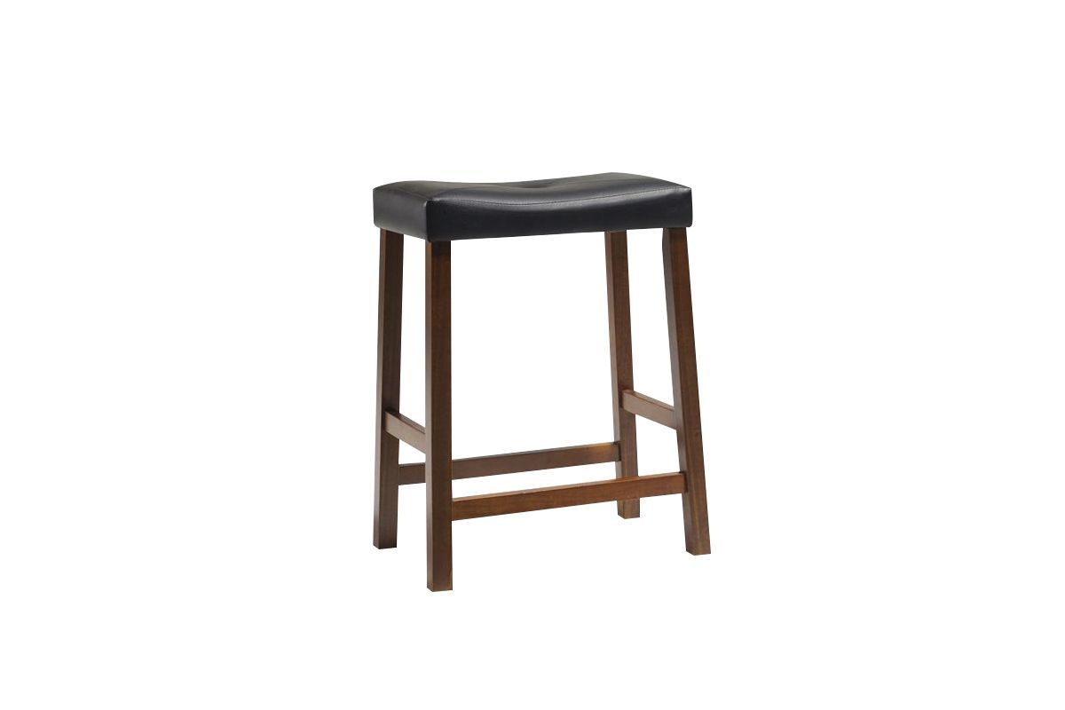 Upholstered Saddle Seat Bar Stool In Cherry With 24 Inch Height Set Of 2 By