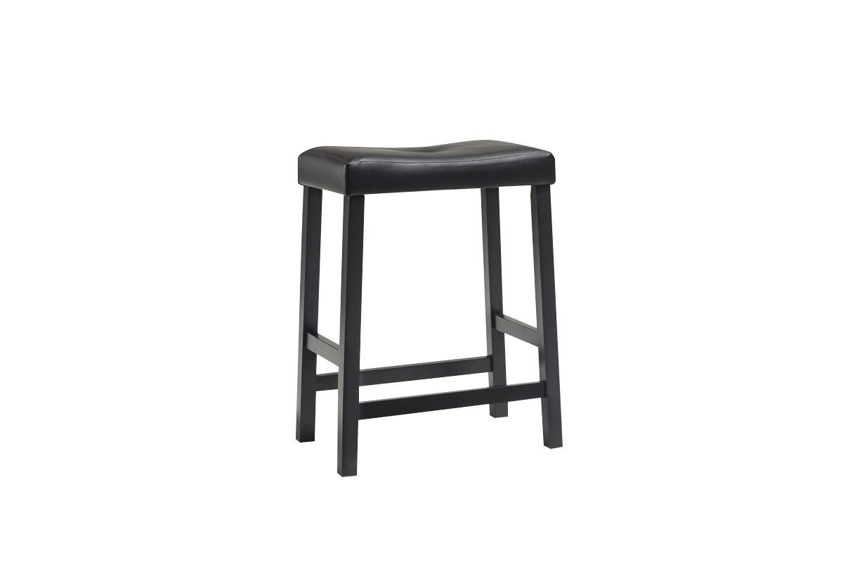 Upholstered Saddle Seat Bar Stool In Black With 24 Inch Seat Height