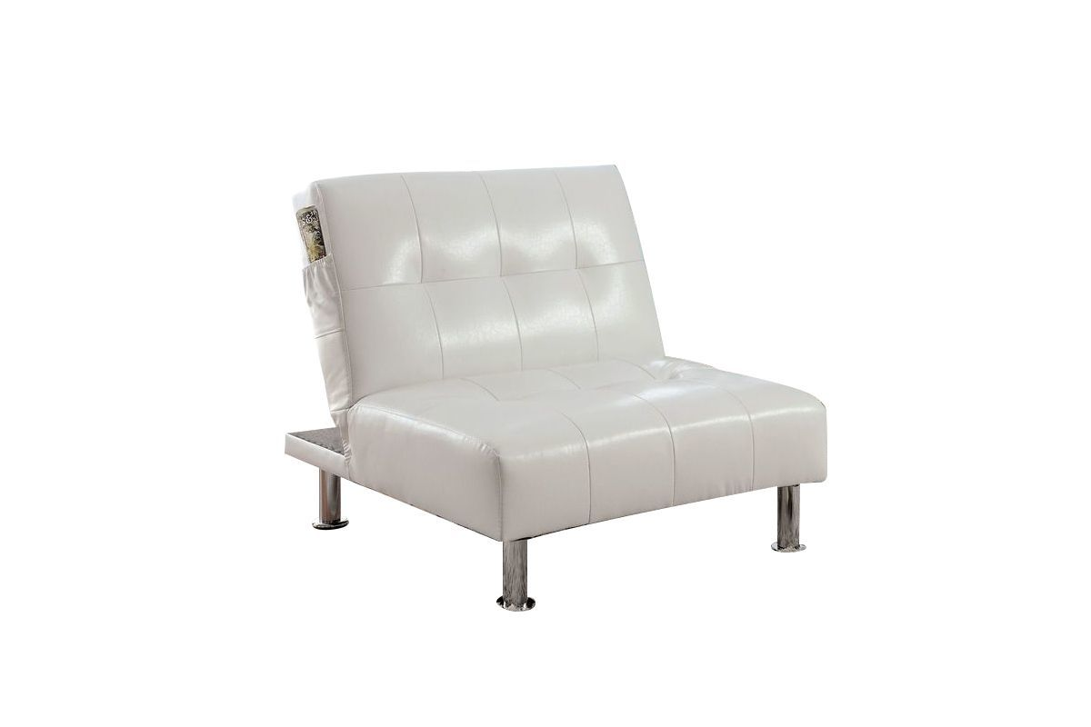 Castins Biscuit Tufted Leatherette Convertible Chair & Ottoman in White from Gardner-White Furniture