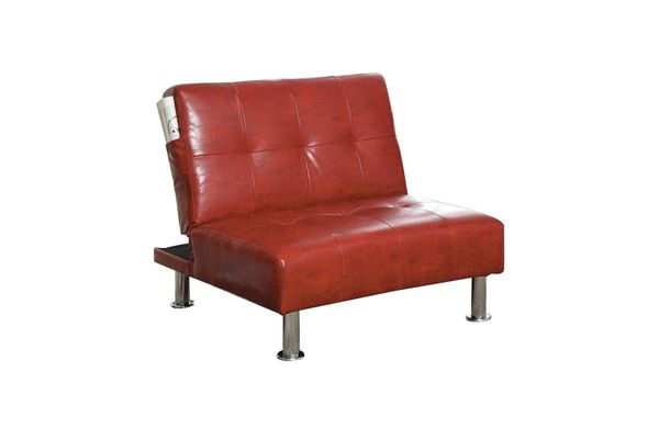 Castins Biscuit Tufted Leatherette Convertible Chair Ottoman In Red