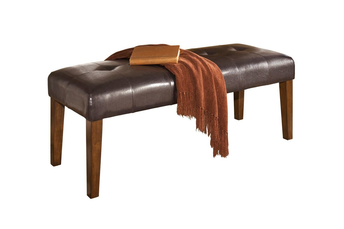 Lacey Large Upholstered Dining Room Bench in Medium Brown by Ashley from Gardner-White Furniture