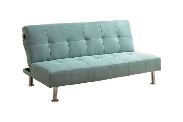 Leena Side Pocket Fabric Tufted Futon In Blue