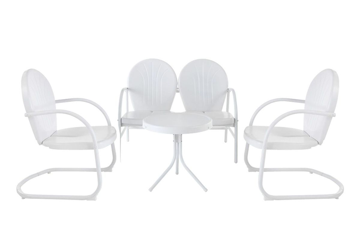 Griffith 4 Piece Metal Outdoor Conversation Seating Set in White by Crosley from Gardner-White Furniture