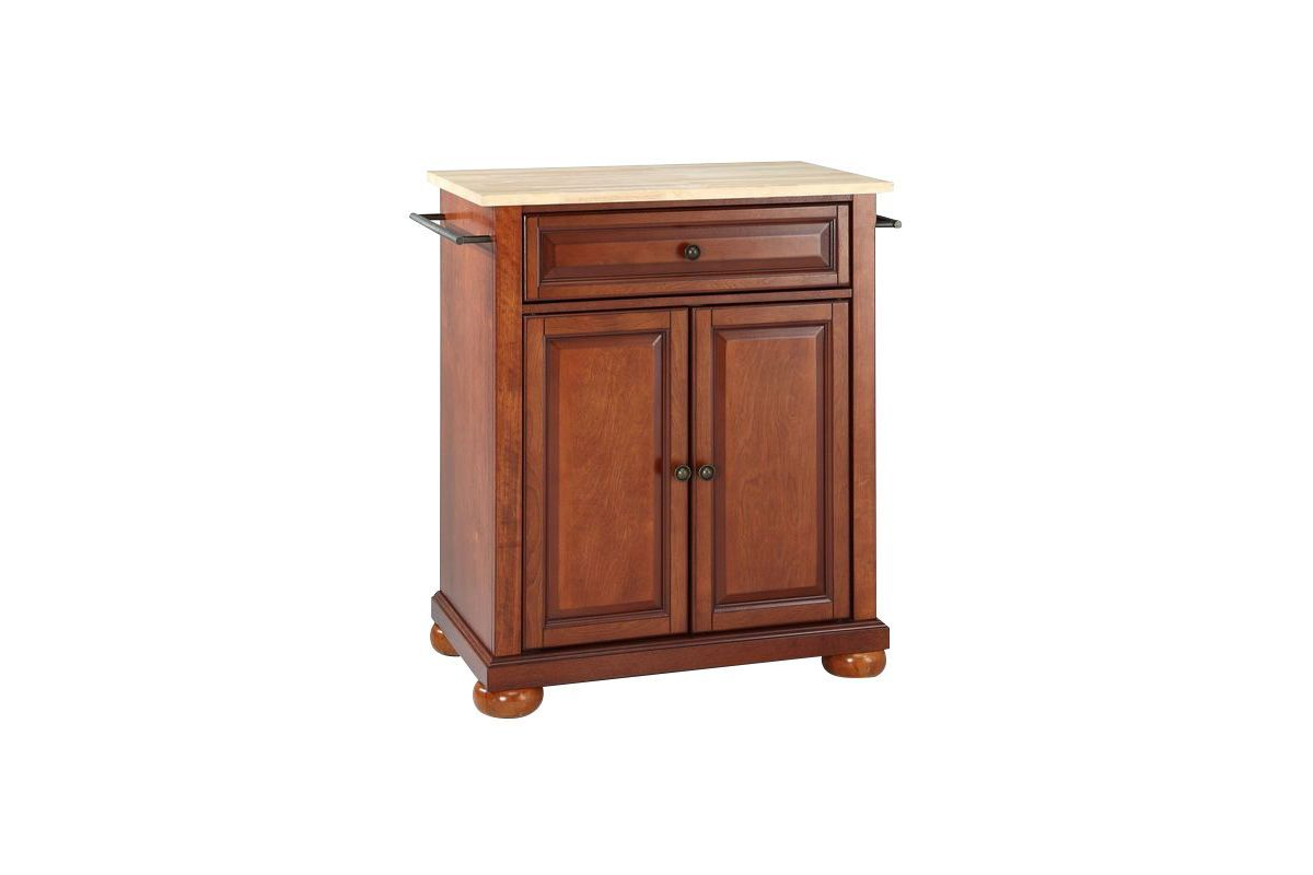 Alexandria Natural Wood Top Portable Kitchen Island in Classic Cherry by Crosley from Gardner-White Furniture