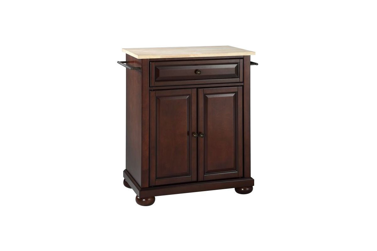 Alexandria Natural Wood Top Portable Kitchen Island in Vintage Mahogany by Crosley from Gardner-White Furniture