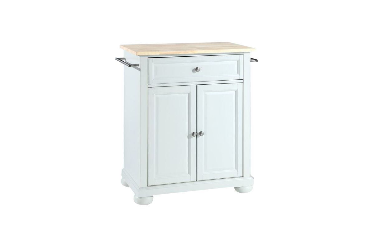 Alexandria Natural Wood Top Portable Kitchen Island in White by Crosley from Gardner-White Furniture