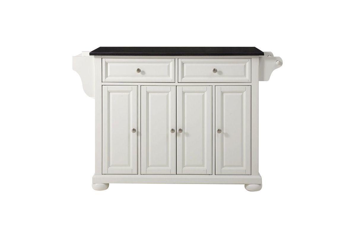 Alexandria Solid Black Granite Top Kitchen Island in White by Crosley from Gardner-White Furniture