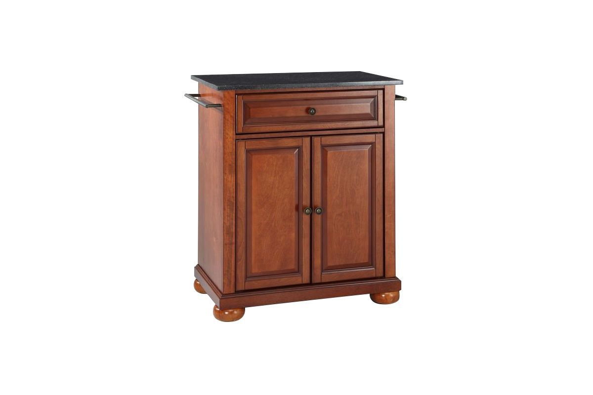 Alexandria Solid Black Granite Top Portable Kitchen Island in Classic Cherry by Crosley from Gardner-White Furniture
