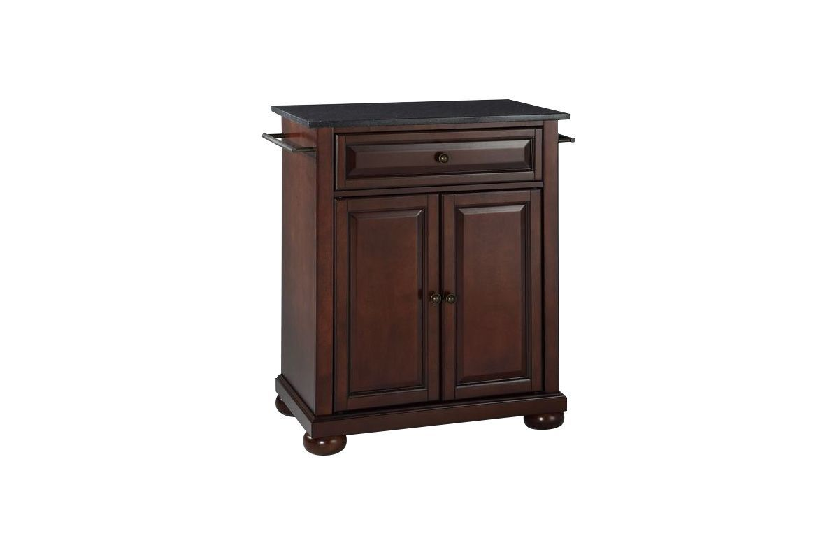Alexandria Solid Black Granite Top Portable Kitchen Island in Vintage Mahogany by Crosley from Gardner-White Furniture