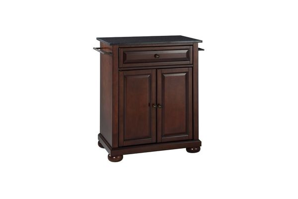 Alexandria Solid Black Granite Top Portable Kitchen Island In Vintage  Mahogany By Crosley Save $60 Online Only $369 + Free Shipping