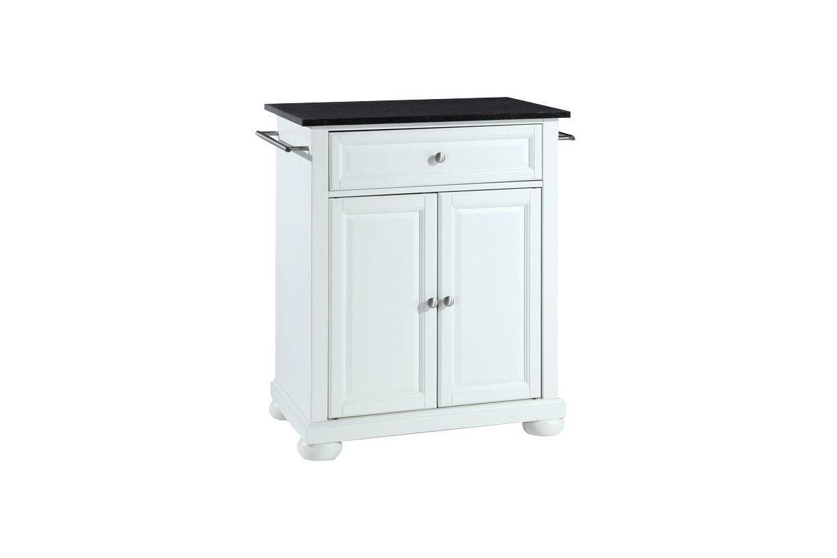 Alexandria Solid Black Granite Top Portable Kitchen Island in White by Crosley from Gardner-White Furniture