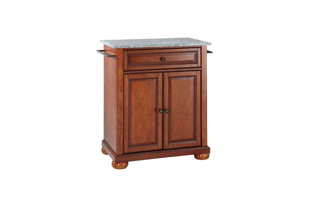 Alexandria Solid Granite Top Portable Kitchen Island in Classic Cherry by Crosley from Gardner-White Furniture