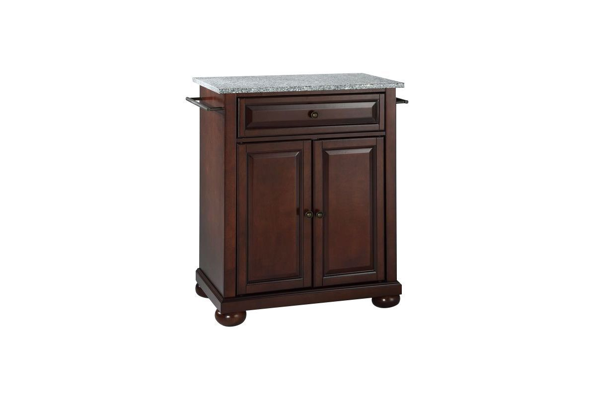 Alexandria Solid Granite Top Portable Kitchen Island in Vintage ...