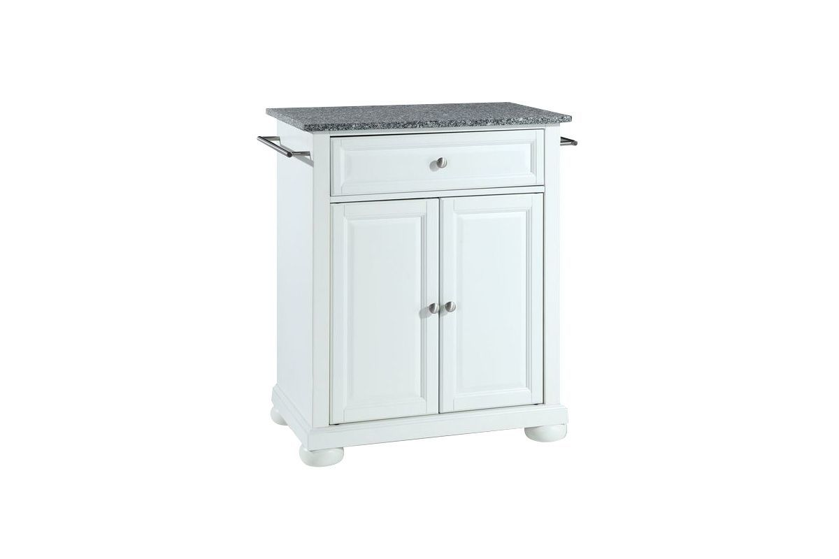 Alexandria Solid Granite Top Portable Kitchen Island in White by Crosley from Gardner-White Furniture