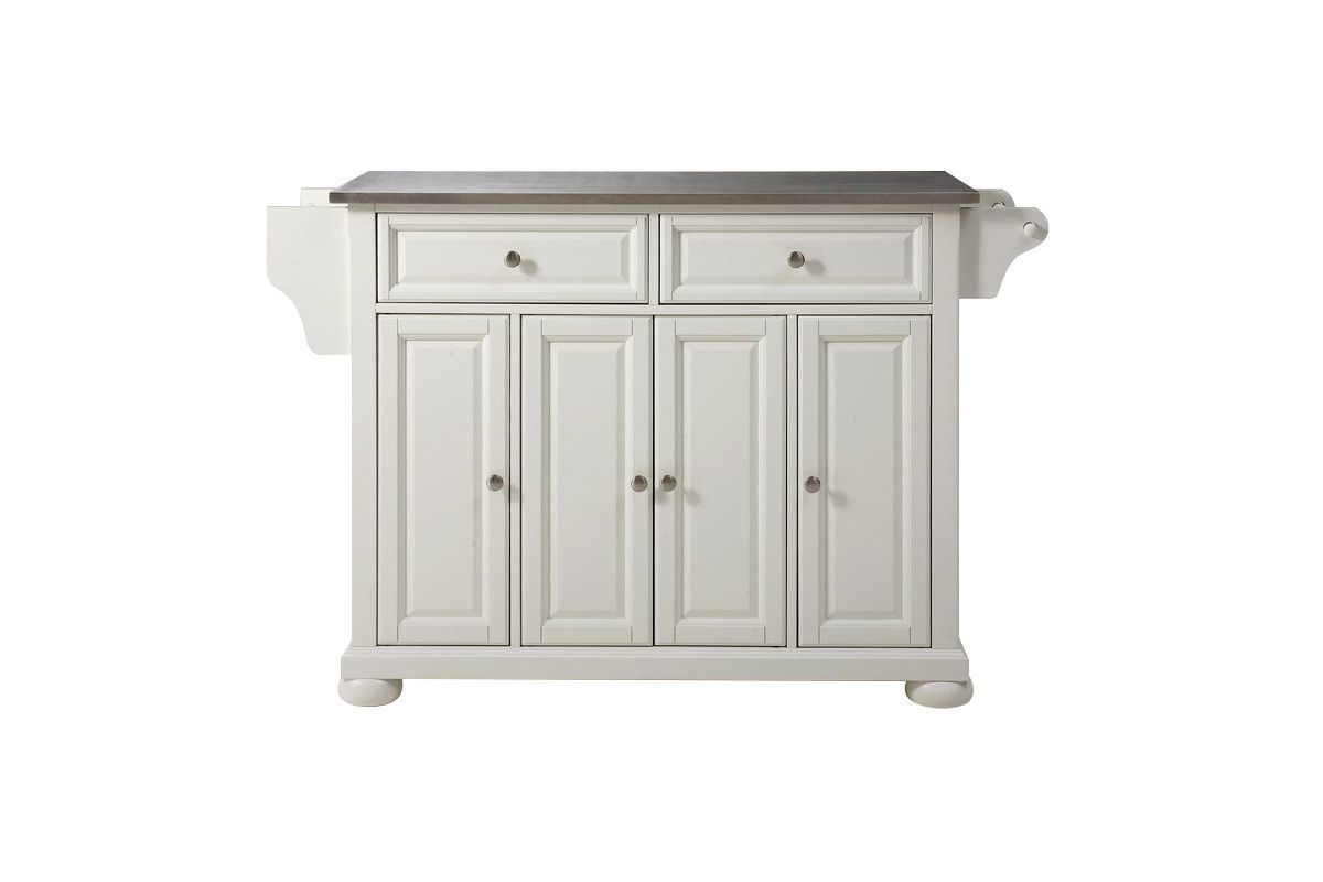 Alexandria Stainless Steel Top Kitchen Island in White by Crosley