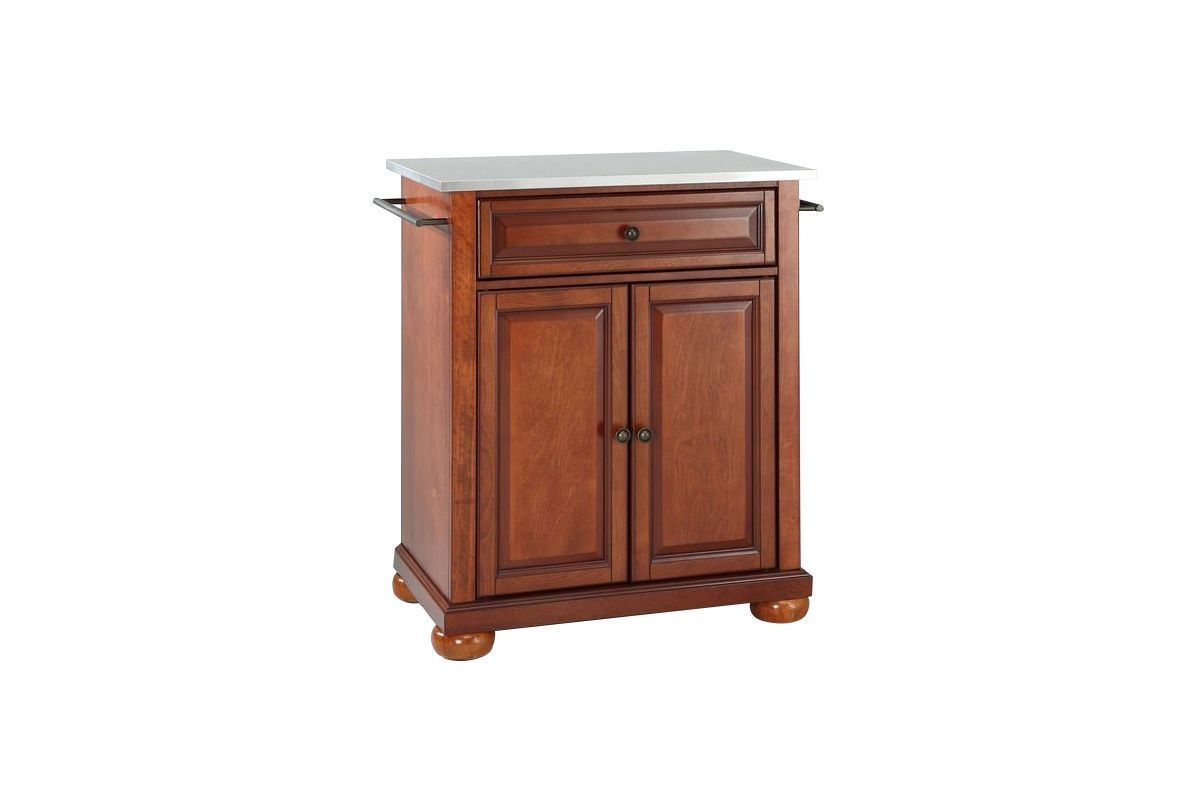 Alexandria Stainless Steel Top Portable Kitchen Island in Classic Cherry by Crosley from Gardner-White Furniture