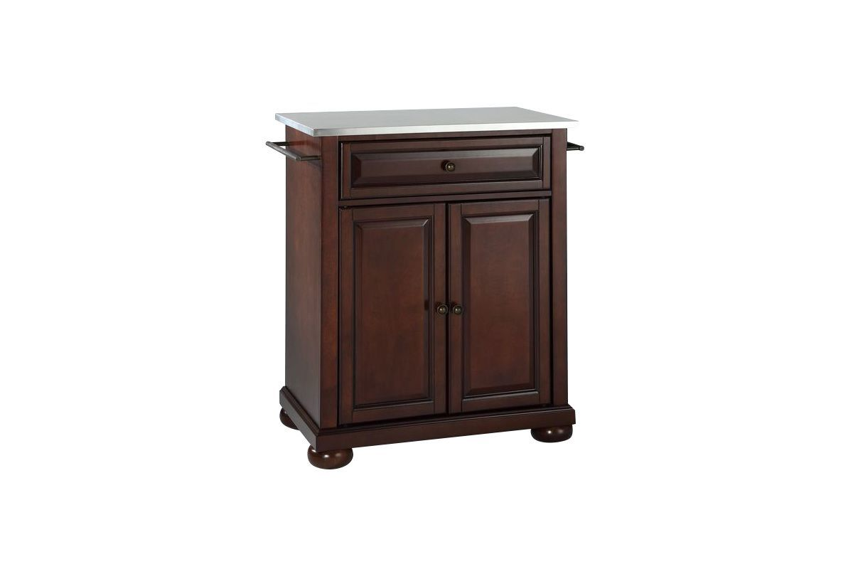 Alexandria Stainless Steel Top Portable Kitchen Island in Vintage Mahogany Finish by Crosley from Gardner-White Furniture