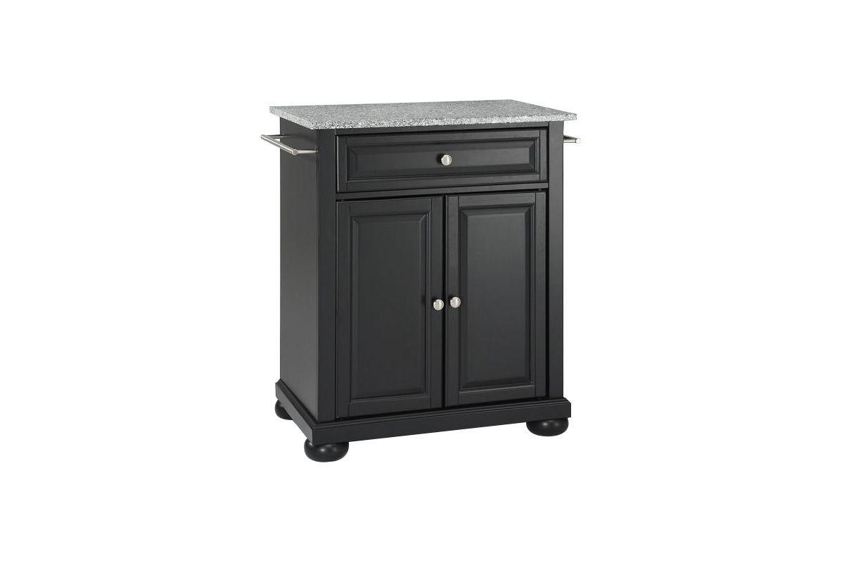 Alexandria Solid Granite Top Portable Kitchen Island in Black by Crosley