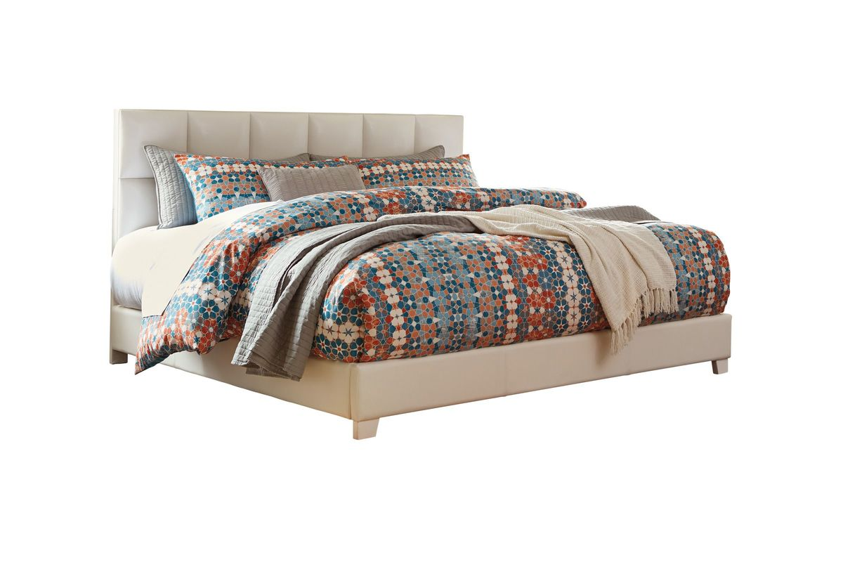 Contemporary Upholstered King Bed in White by Ashley® from Gardner-White Furniture