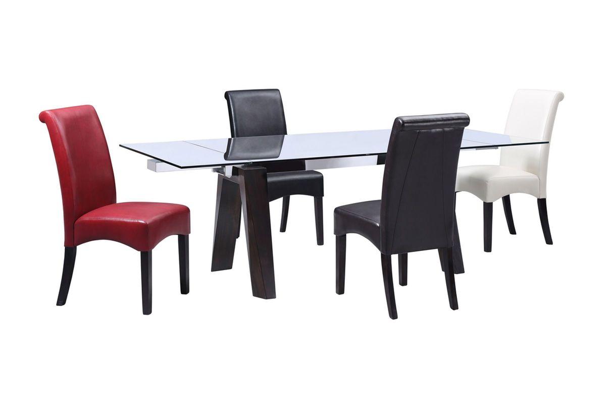 Jordan Dining Table + 4 Black Side Chairs from Gardner-White Furniture