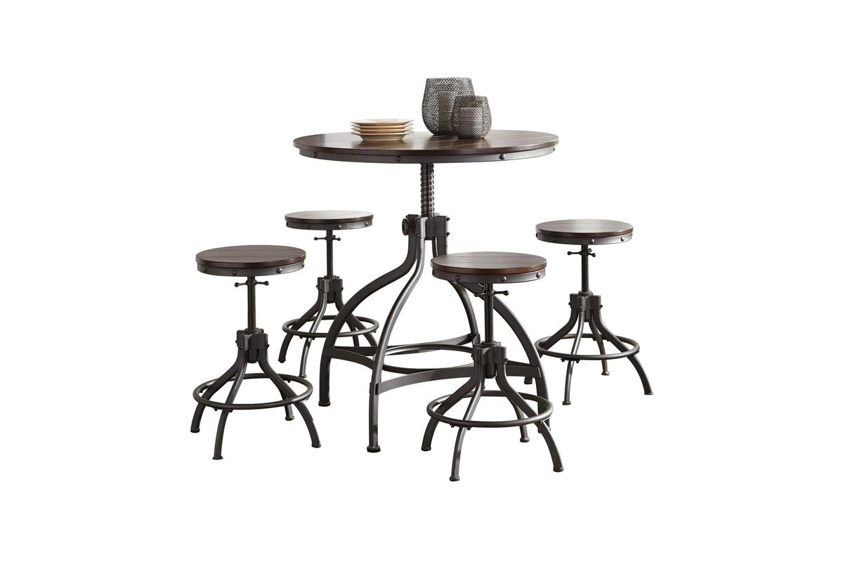 Odium Dining Room Counter Table Set Set of 5 by Ashley from Gardner-White Furniture