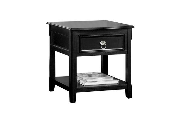 Merveilleux Black Rectangular End Table