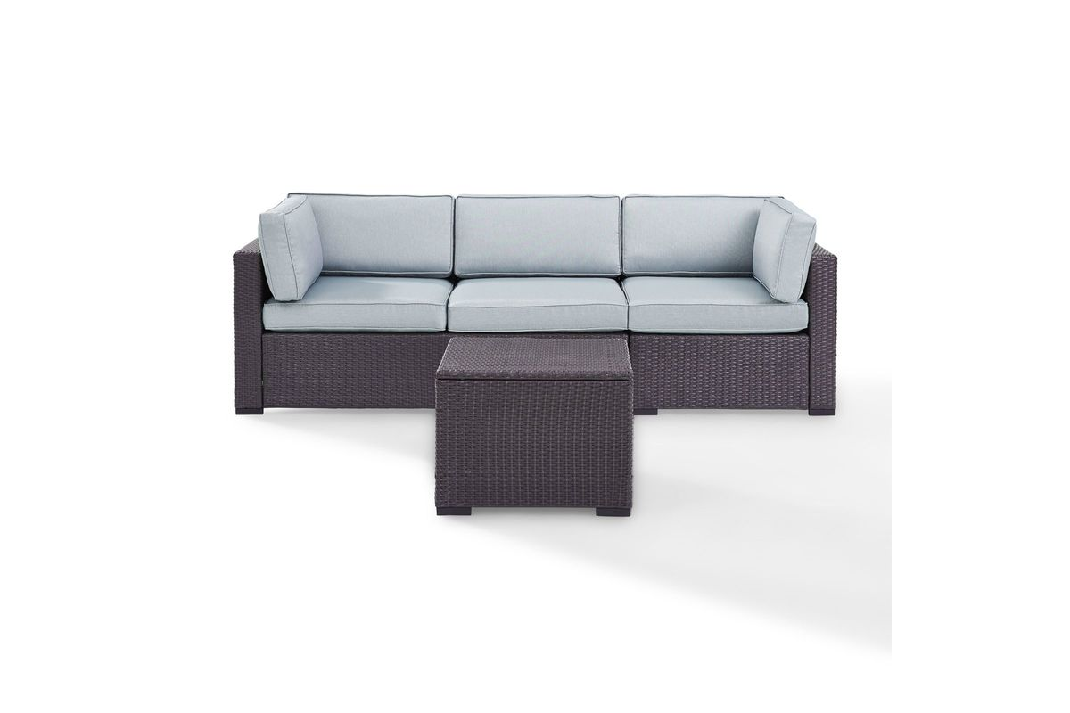 Biscayne Mist 3 Person Outdoor Loveseat, Corner Chair & Coffee Table Set by Crosley from Gardner-White Furniture