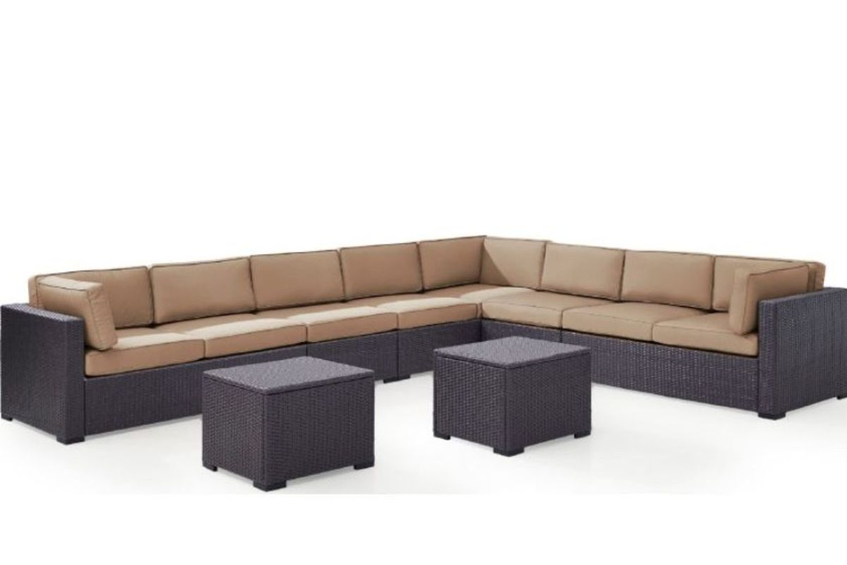 Biscayne Mocha 8 Person Outdoor Sectional Seating Set With 2 Coffee Tables By Crosley From Gardner