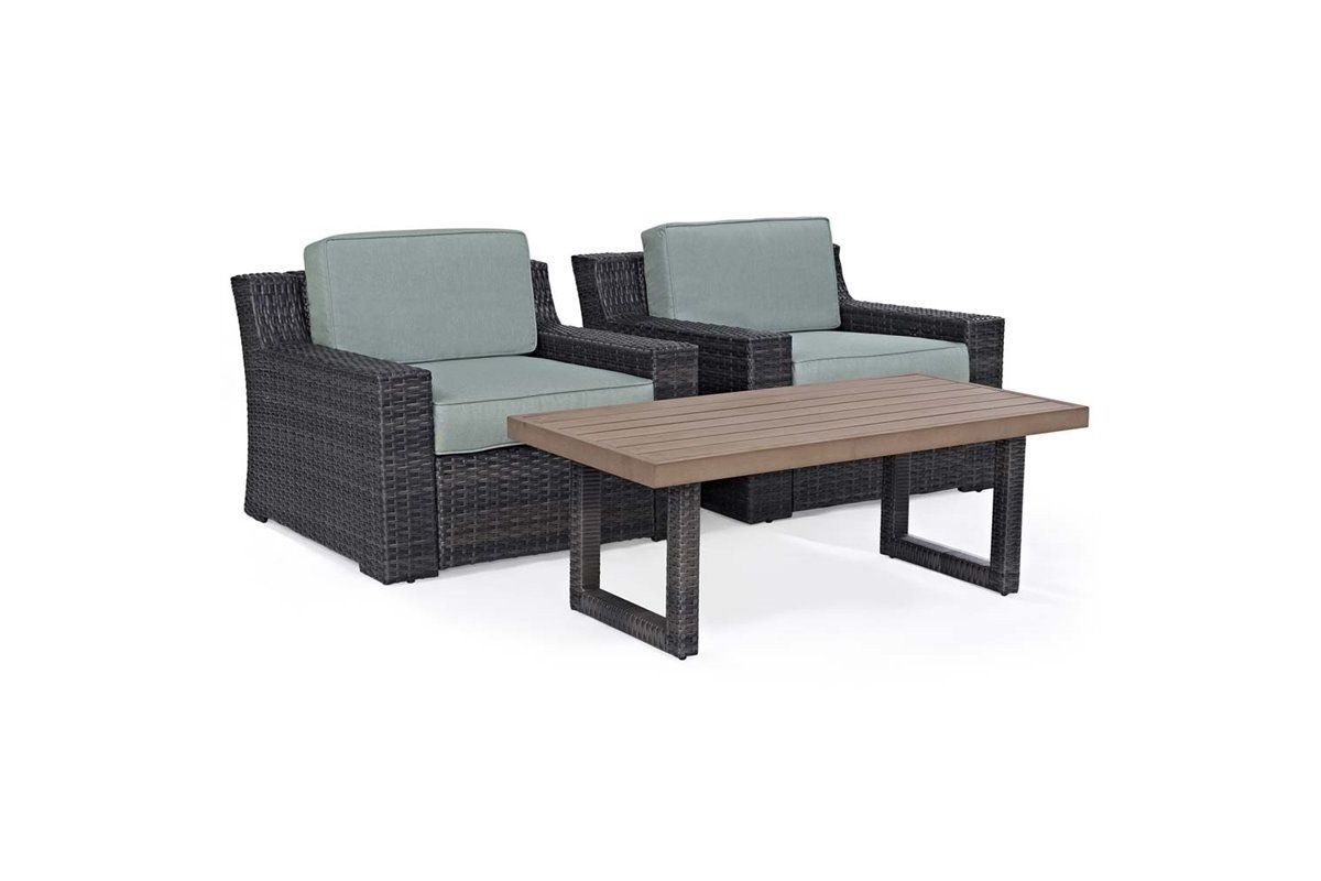 Beaufort 3 Piece Outdoor Chairs and Coffee Table Set by Crosley from Gardner-White Furniture