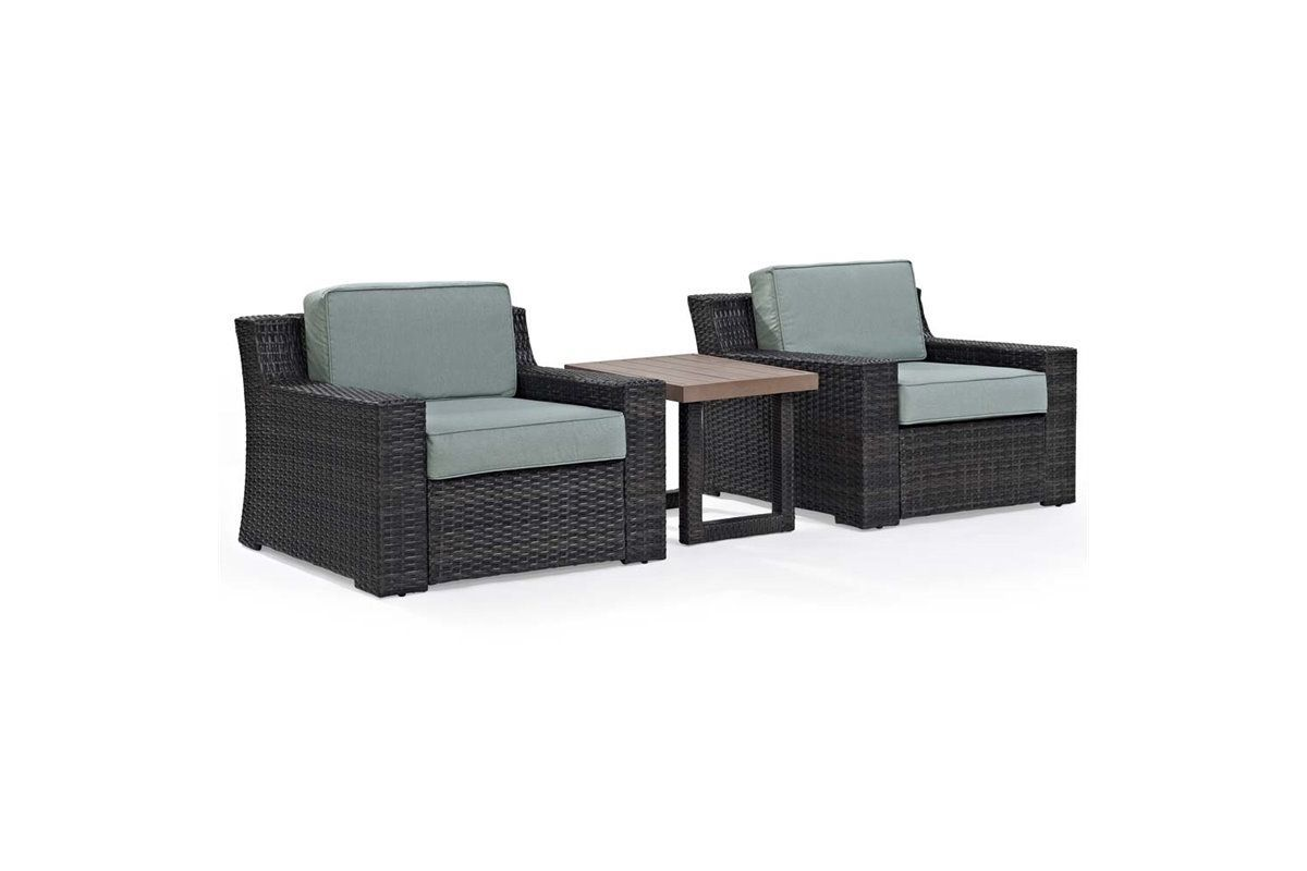 Beaufort 3 Piece Outdoor Chairs and Side Table Set by Crosley from Gardner-White Furniture