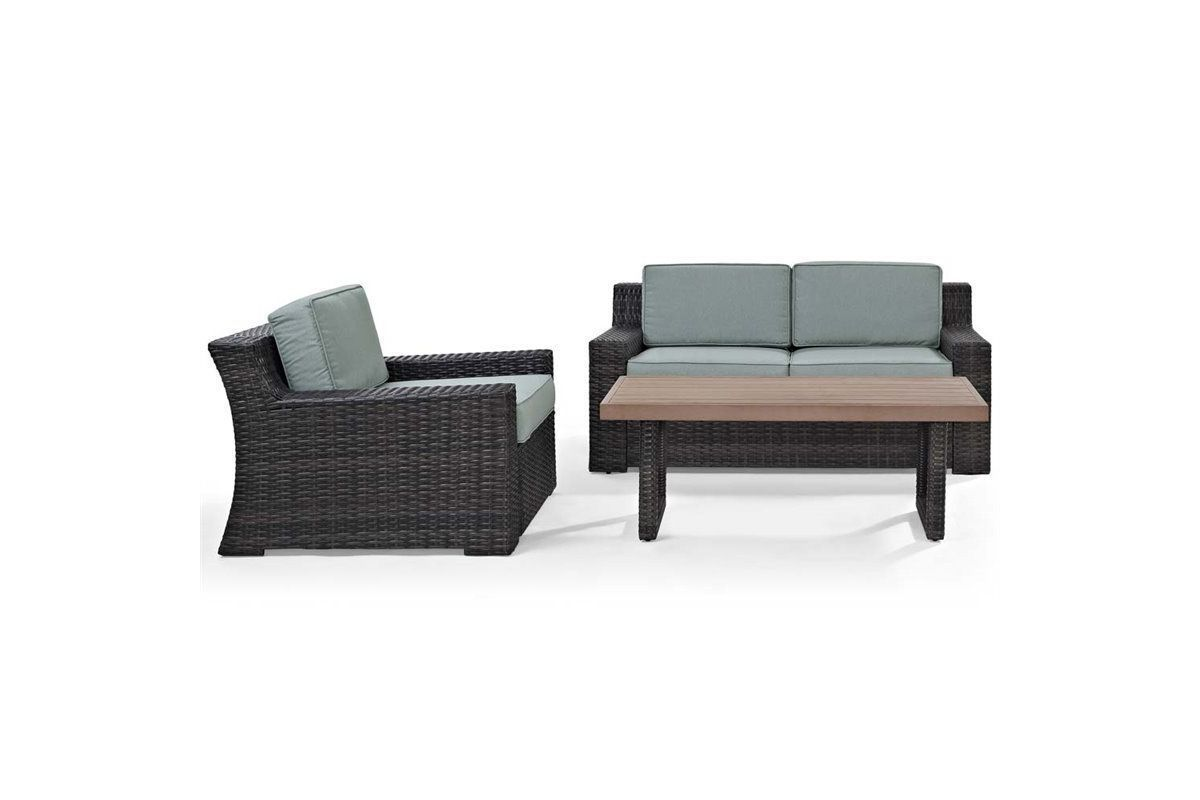 Beaufort 3 Piece Outdoor Loveseat, Chair, and Table Set by Crosley from Gardner-White Furniture