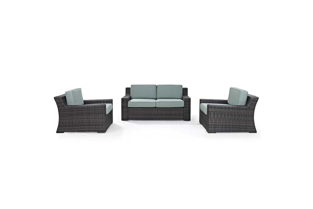 Beaufort 3 Piece Outdoor Loveseat and Chair Set by Crosley from Gardner-White Furniture