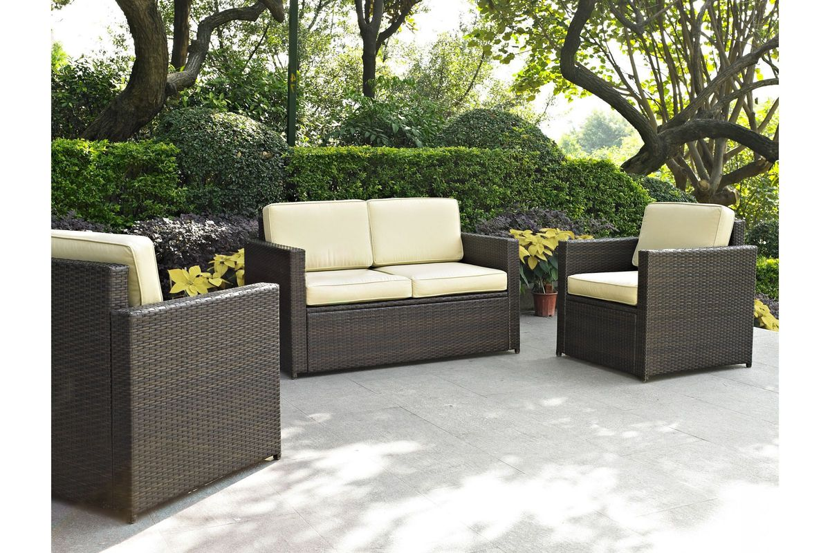 Palm Harbor Sand 3 Piece Outdoor Seating Set by Crosley from Gardner-White Furniture