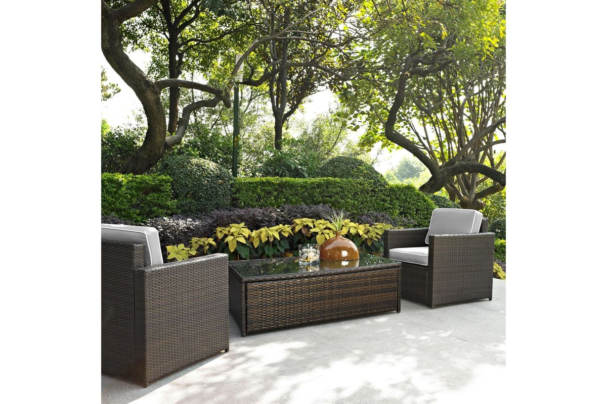 Palm Harbor Grey 3 Piece Outdoor Seating Set With Table By Crosley From Gardner White