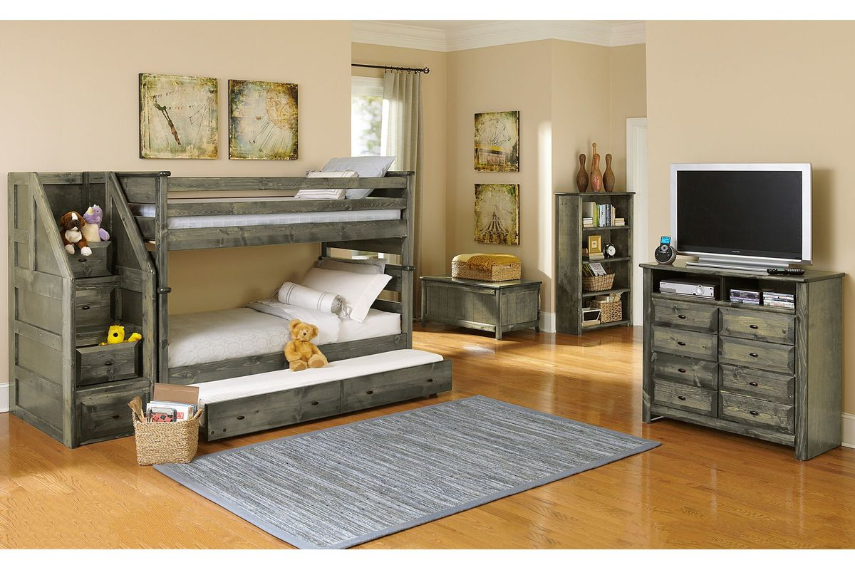 Laguna Grey Twin-Over-Twin Bunk Bed from Gardner-White Furniture