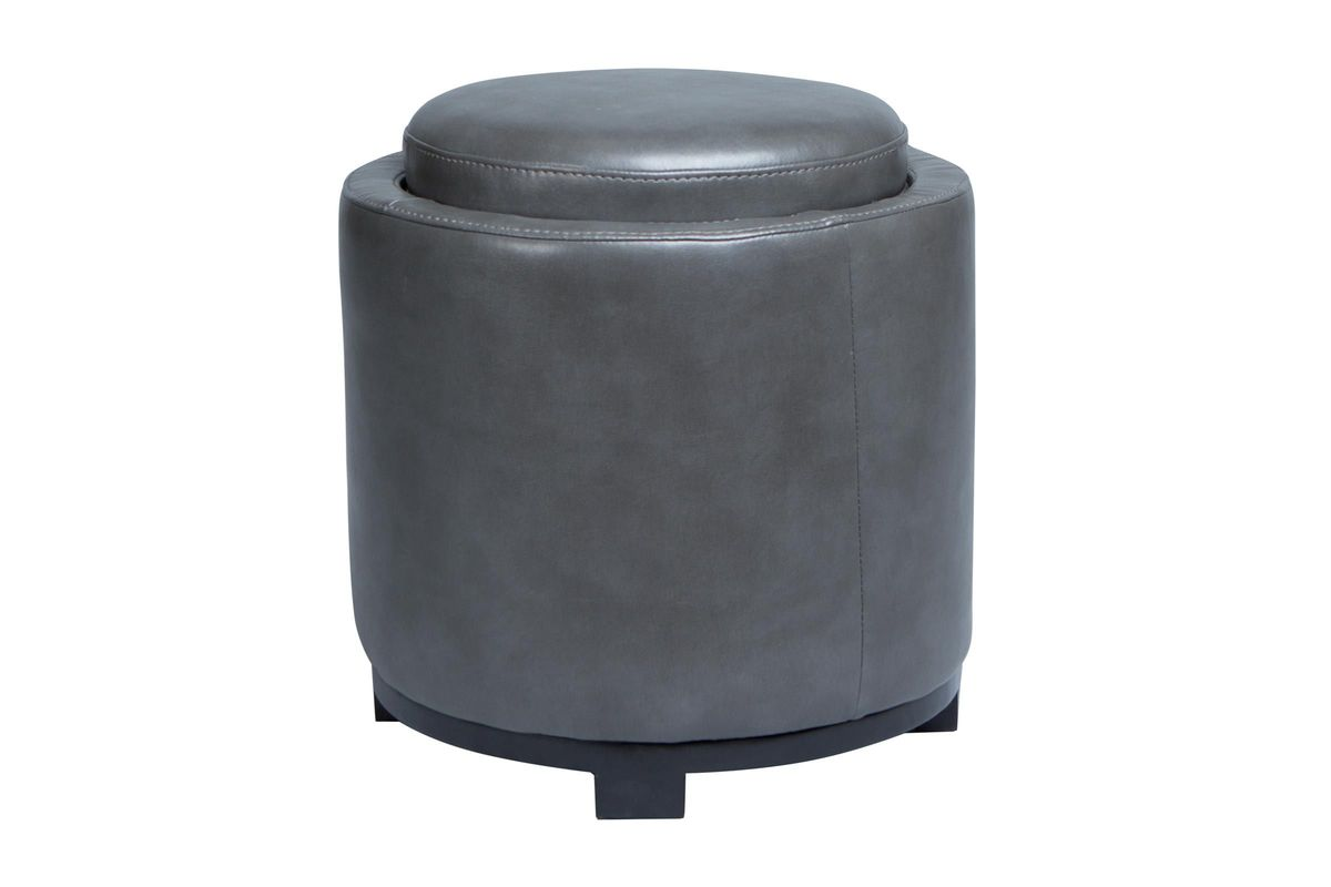 Astounding Grey Round Storage Ottoman With Tray Ibusinesslaw Wood Chair Design Ideas Ibusinesslaworg