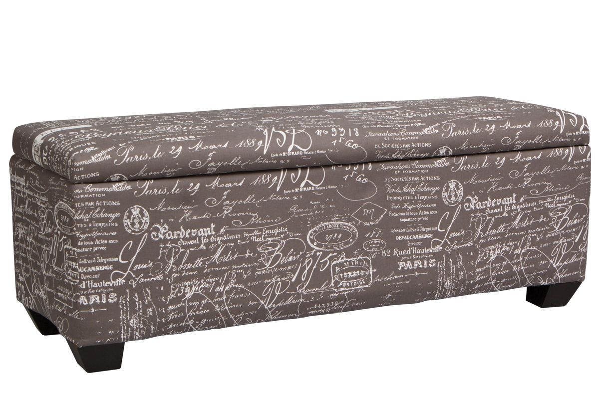 Strange Grey Scroll Storage Bench Ottoman Gmtry Best Dining Table And Chair Ideas Images Gmtryco