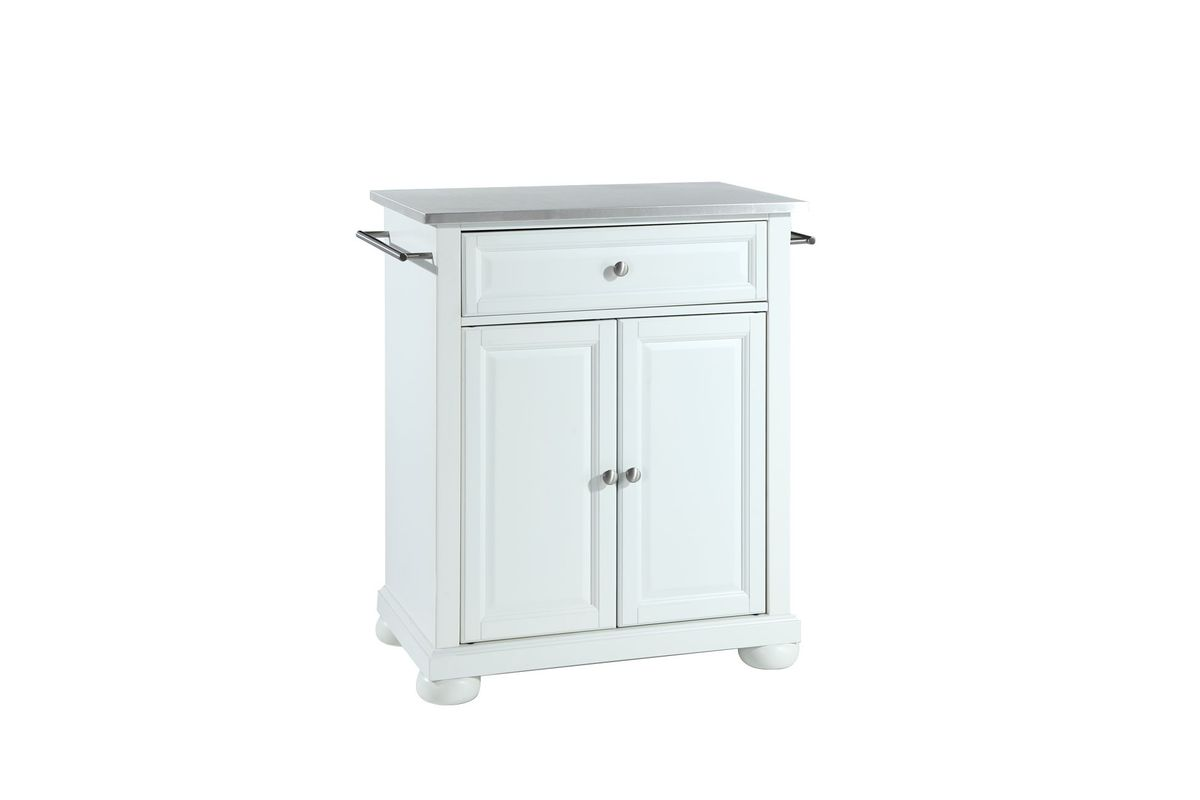 Alexandria Stainless Steel Top Portable Kitchen Island in White by Crosley from Gardner-White Furniture