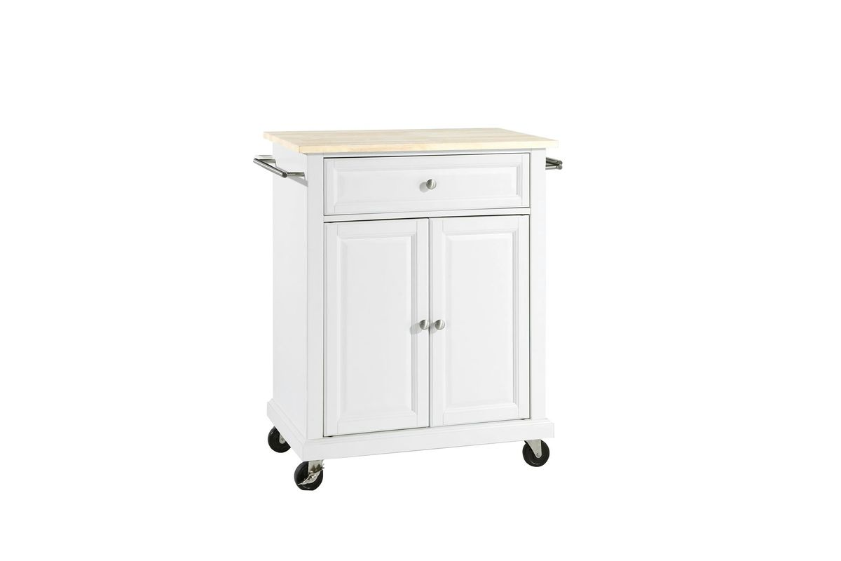Natural Wood Top Portable Kitchen Cart/Island in White by Crosley from Gardner-White Furniture
