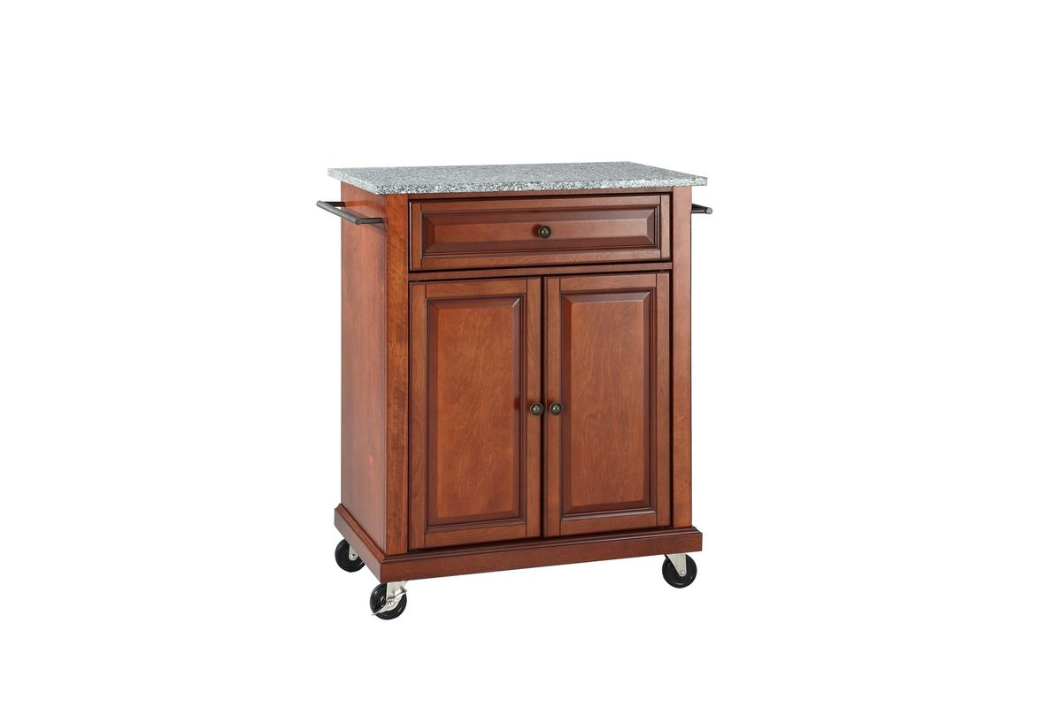 Solid Granite Top Portable Kitchen Cart/Island In Classic