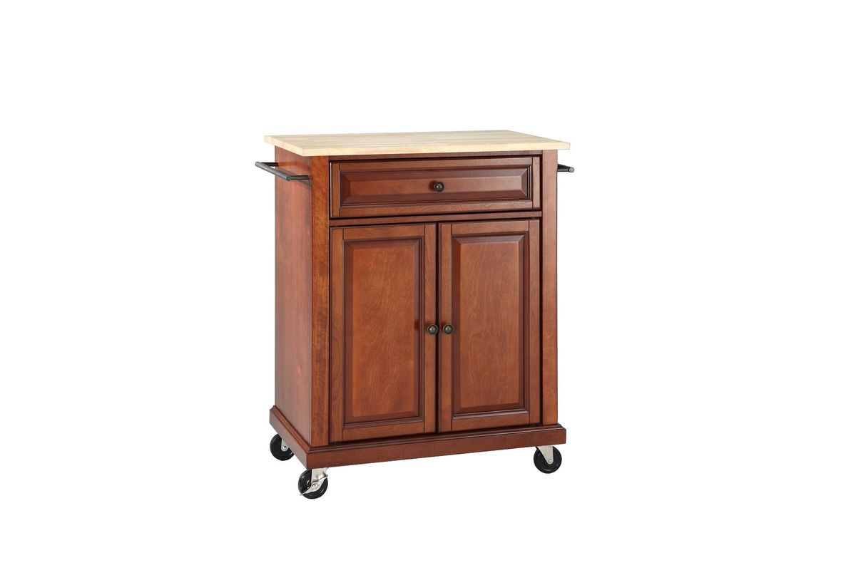 Natural Wood Top Portable Kitchen Cart/Island in Classic Cherry by Crosley