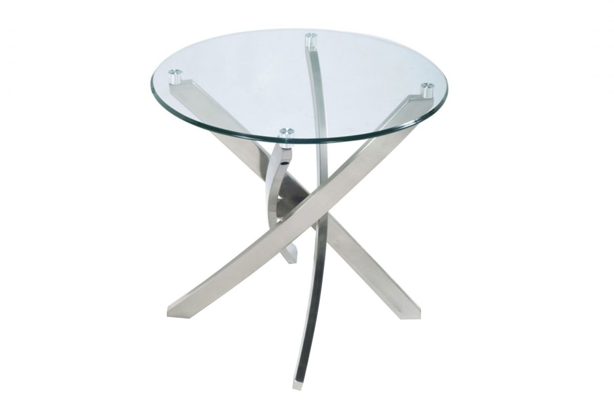 Brushed Nickel and Glass End Table from Gardner-White Furniture