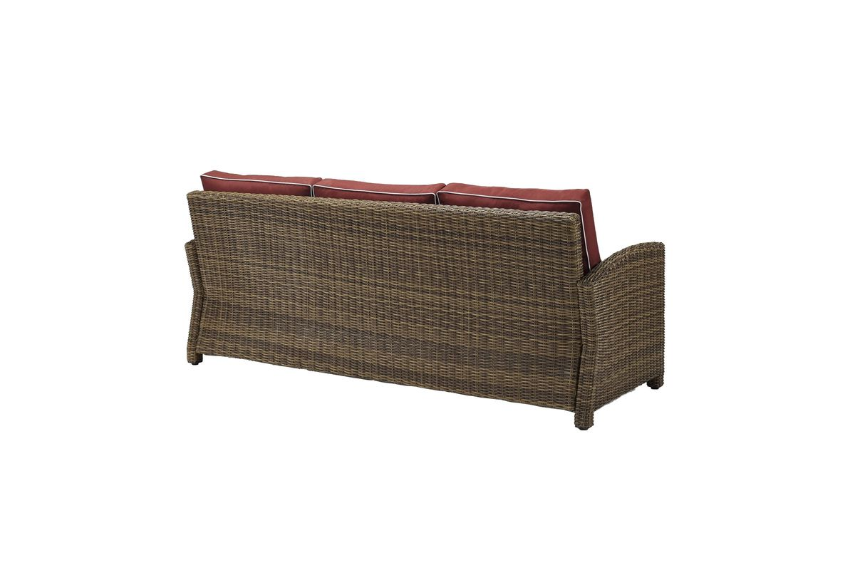Bradenton Sofa In Weathered Brown Wicker With Sangria