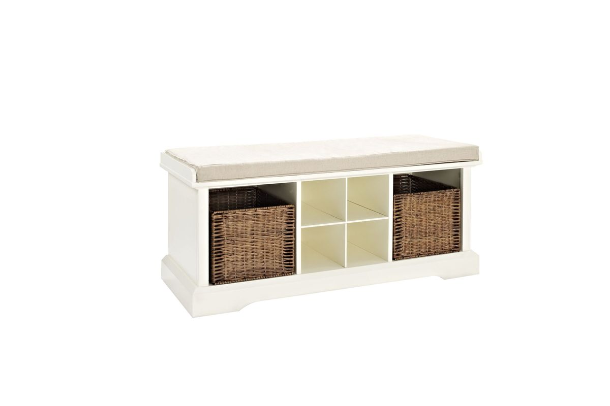 Brennan Entryway Storage Bench in White by Crosley from Gardner-White Furniture